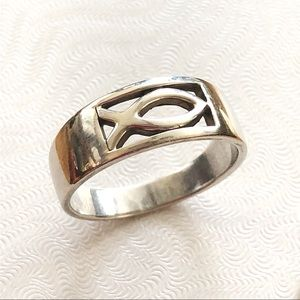 Jewelry - Silver Ichthys Fish Ring (.925)